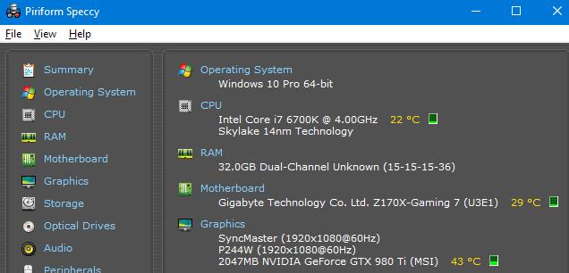 Piriform Speccy покажет всю начинку вашего компьютера