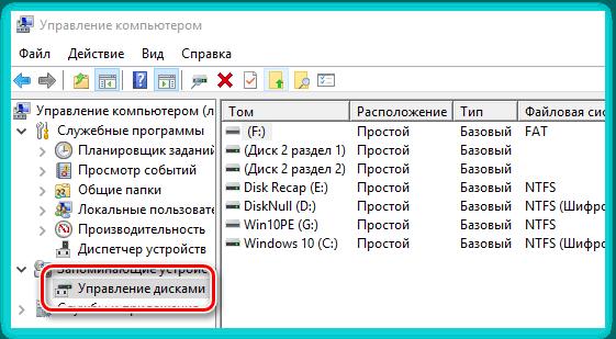 Управление дисками компьютера с помощью оснастки Windows
