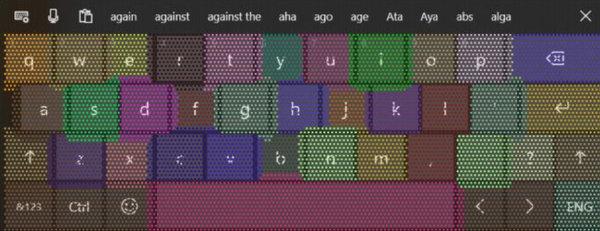 Окно самонастройки сенсорной клавиатуры Windows 10
