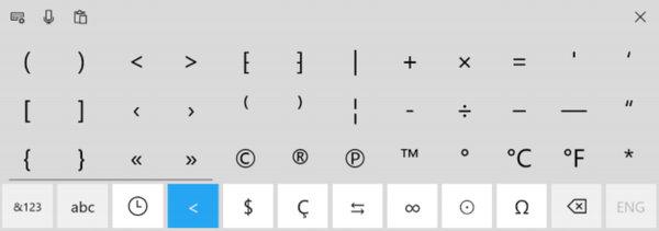 Дополнительные символы на сенсорной клавиатуре Windows 10