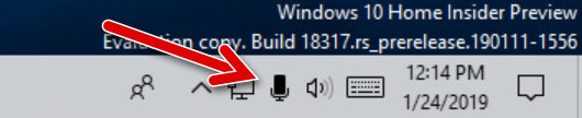 Новый значок состояния микрофона в Windows 10