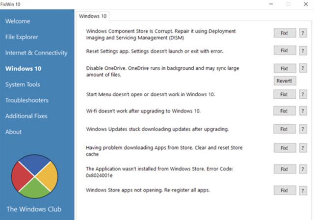 FixWin 10 быстрое решит большинство проблем с Windows