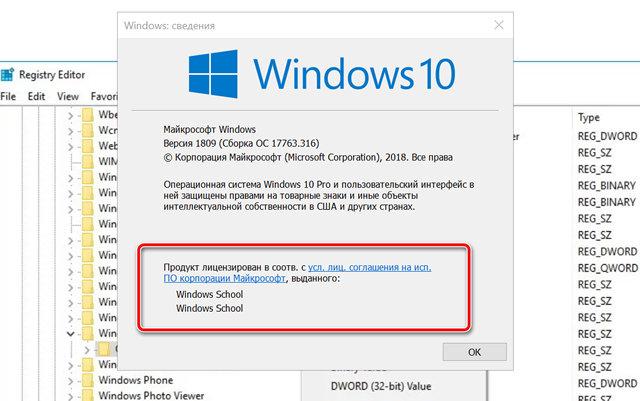 Новая информация о владельце текущей системы Windows 10