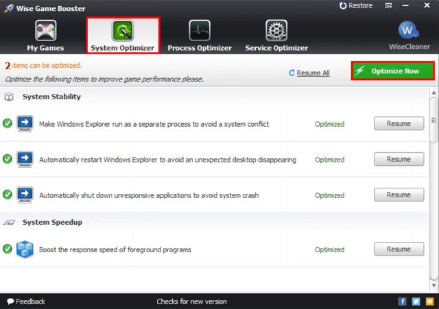 Wise Game Booster оптимизирует Windows под игровой процесс