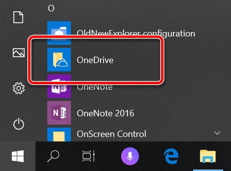 Ссылка для первого запуска OneDrive на Windows 10