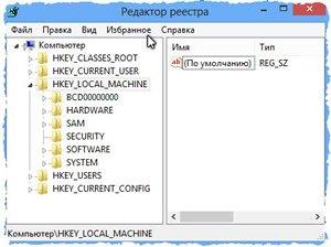 Окно редактора реестра параметров Windows