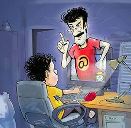Папа контролирует ребенка при работе за компьютером