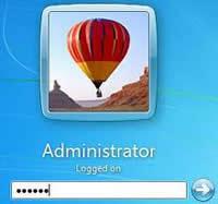 Интерфейс входа в учетную запись администратора OS Windows