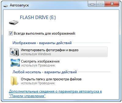 Окно автозапуска подключенной к Windows фотокамере