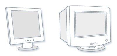 ЖК-монитор компьютера (слева) и ЭЛТ-монитор (справа)
