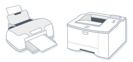 Струйный принтер (слева) лазерный принтер (справа), используемые в связке с компьютером