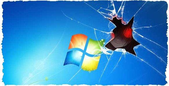 Повреждённый рабочий стол компьютерной системы Windows