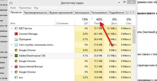 Поиск пожирателя оперативной памяти Windows