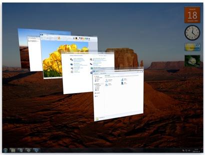 Объемное перелистывание окон системы Windows в среде Aero