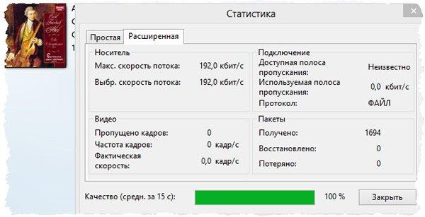 Статистика воспроизведения файла в Windows Media