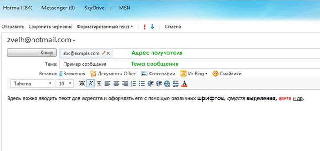 Создание и отправка сообщений E-mail.