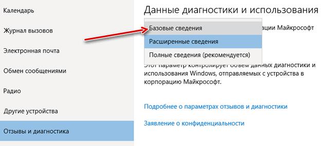 Ограничение передаваемых данных в Microsoft об использовании устройства
