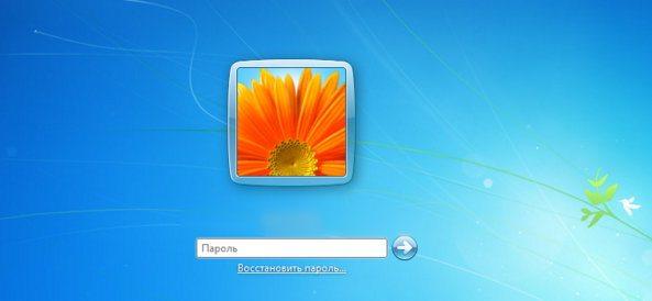 Окно ввода пароля пользователя Windows 7