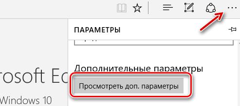 Открытие панели «Дополнительные параметры» в браузере Microsoft Edge