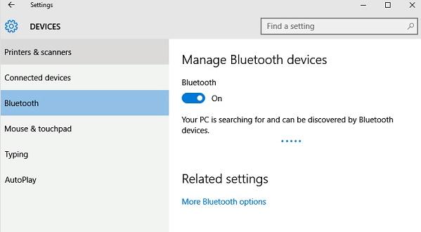 Раздел подключения Bluetooth устройств к Windows 10