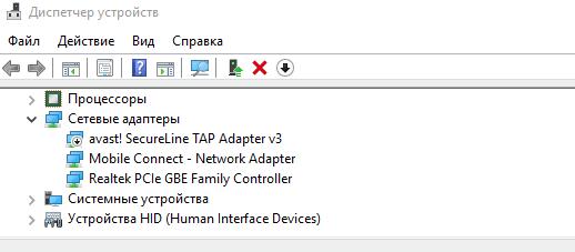 Список сетевых адаптеров в диспетчере устройств системы Windows 10