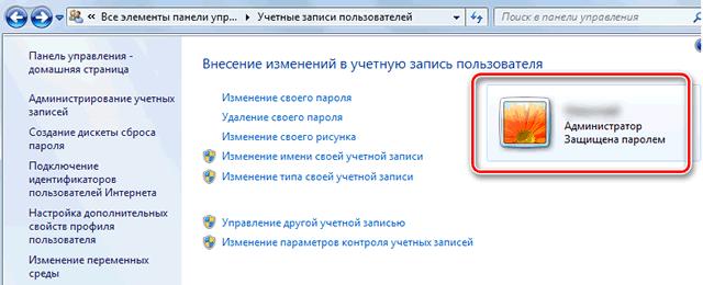 Элементы управления учетной запись пользователя Windows