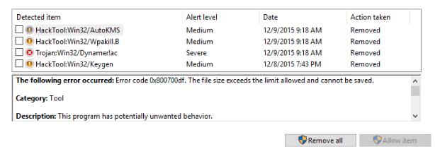 Обозначение уровня опасности найденных угроз на компьютере