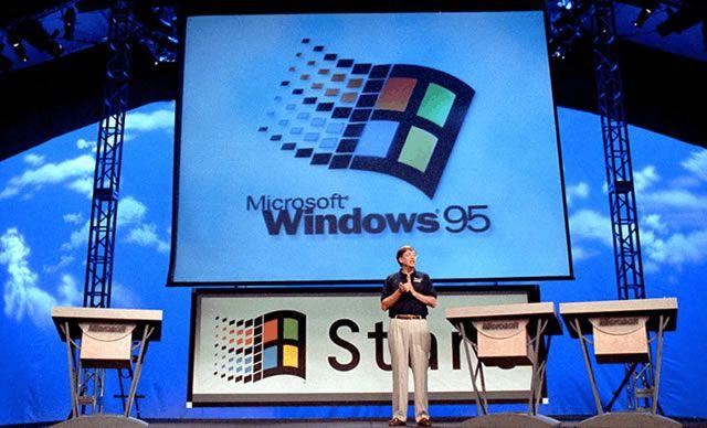 День запуска Windows 95 – Билл Гейтс проводит презентацию