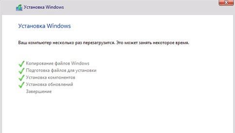 Экран Установщика Windows при установке Windows