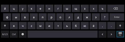 Кнопка сенсорной клавиатуры на панели