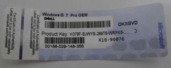 Наклейка с ключом для активации Windows 7 Pro OEM