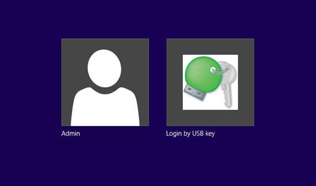 Экран входа пользователя в систему Windows с помощью USB ключа