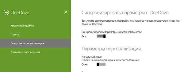 Панель настройки параметров синхронизации Windows через OneDrive